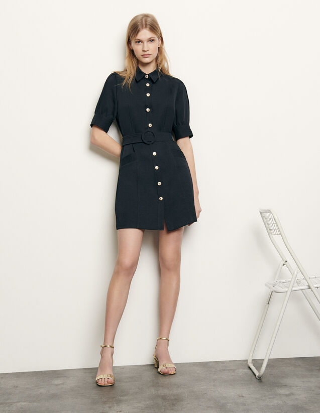 Shirt dress with decorative buttons : Summer Collection color Navy Blue