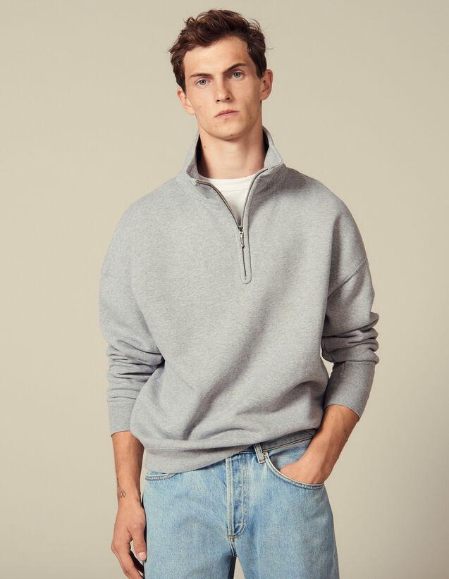 Zipped Trucker-Neck Sweatshirt : Sweatshirts color Mocked Grey