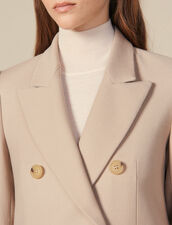 Double-Breasted Wool Coat : Coats color Beige