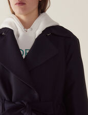 Trench-Style Coat : null color Navy Blue