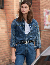 Denim Shirt Trimmed With Studs : FBlackFriday-FR-FSelection-30 color Midnight Blue Denim