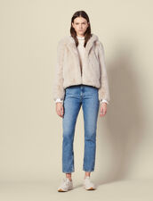 Short Faux Fur Coat : Coats color Ecru