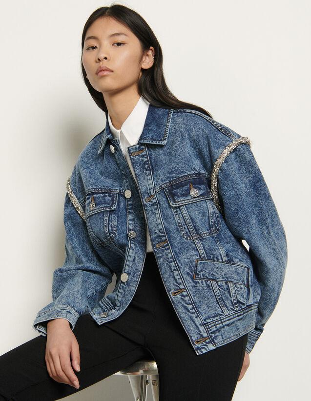 Denim jacket finished with rhinestones : Blazers & Jackets color Blue Jean
