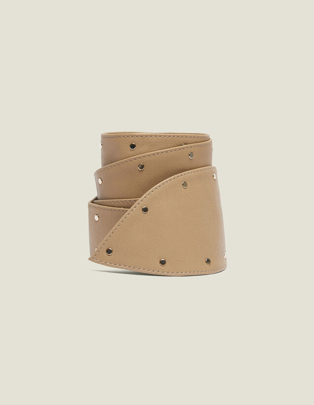 Wide Tie Belt With Studs : Summer Collection color Beige