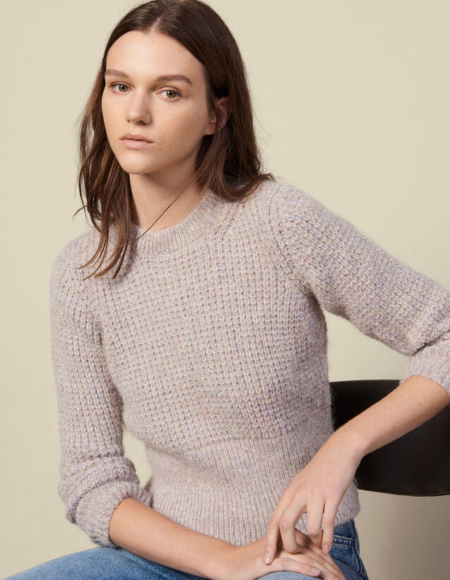 Round Neck Sweater With Rib Knit Effect : LastChance-ES-F50 color Grey