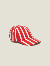 Cap With Contrasting Stripes : Summer suitcase color Red