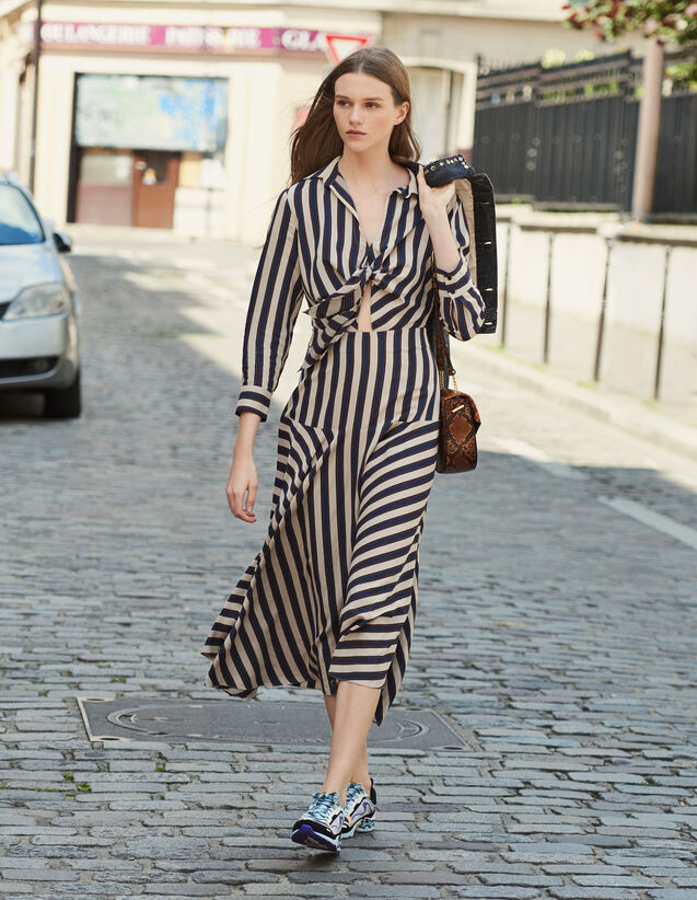 Long Dress With Striped Design : All Ready-to-wear color Beige / Blue