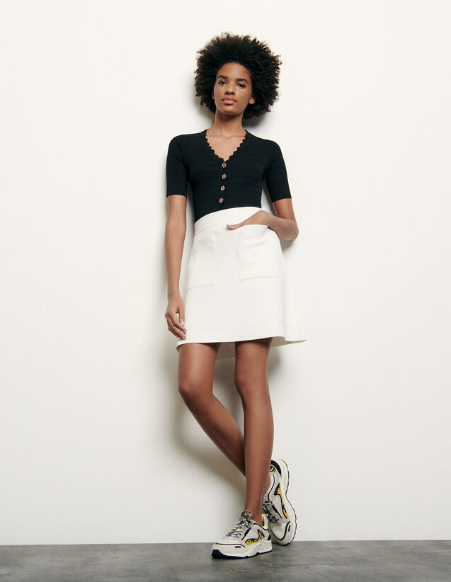 Short knitted skirt : Skirts & Shorts color white