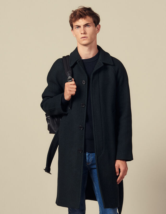 Coat With Belt : Winter Collection color Dark green