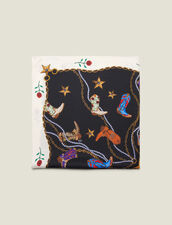 Silk cowboy boot print scarf : All Winter collection color Black