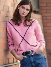 Hairy jacquard sweater : LastChance-ES-F40 color Pink