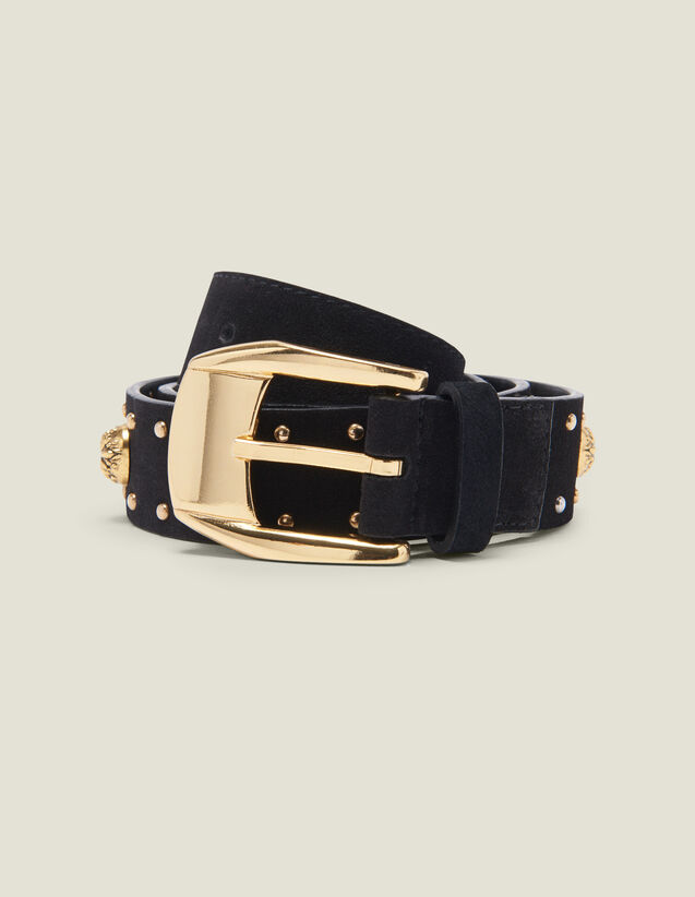 Belt Trimmed With Rivets And Rhinestones : Belts color Black