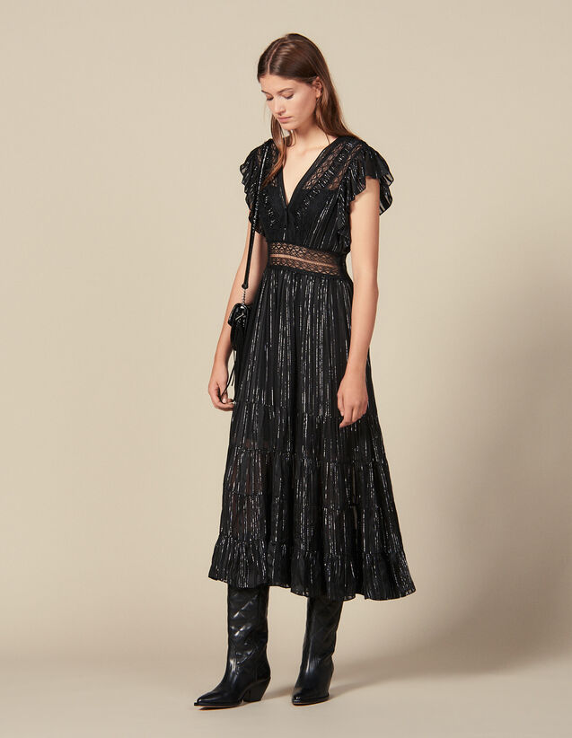 Long Lurex Silk Dress : Dresses color Black