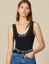 Knitted Bodysuit Trimmed With Studs : Tops & Shirts color Black