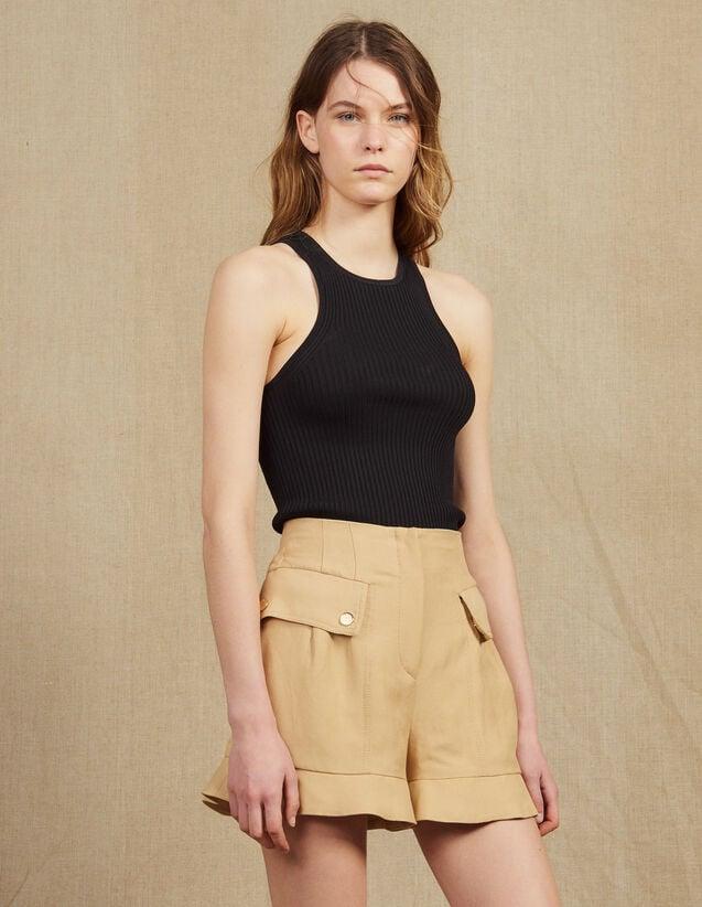Ruffled Shorts : Skirts & Shorts color Beige