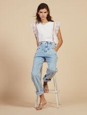 T-Shirt With Lace Braid Trims : LastChance-FR-FSelection color white