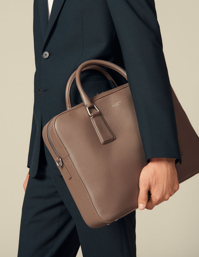 Grained Leather Briefcase : Briefcases color Taupe
