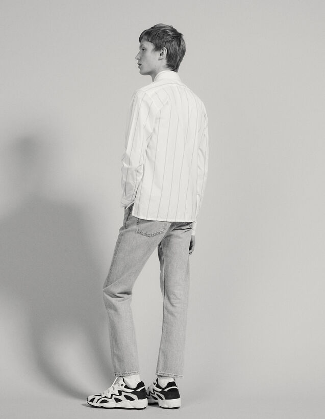 Cotton Shirt With Double Stripes : Shirts color white