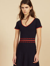 Short Knit Dress With Pleats : null color Navy Blue