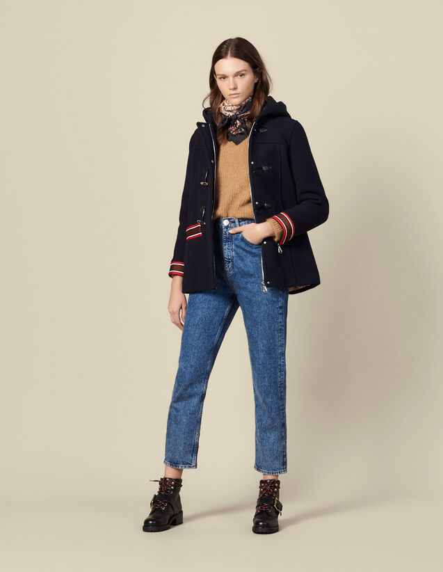 Wool coat with multi-coloured braid trim : Coats color Navy Blue