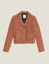 Suede Perfecto Jacket : null color Terracotta
