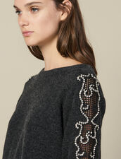 Sweater With Rhinestones And Boat Neck : LastChance-ES-F40 color Charcoal Grey