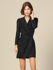 Jacquard short wraparound dress : LastChance-ES-F50 color Black