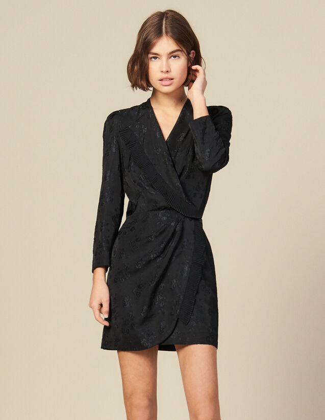 Jacquard short wraparound dress : FBlackFriday-FR-FSelection-30 color Black