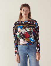 Long-Sleeved Printed Silk Top : Tops & Shirts color Black