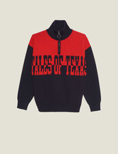 Trucker-Style Sweater With Lettering : FBlackFriday-FR-FSelection-30 color Navy / Red