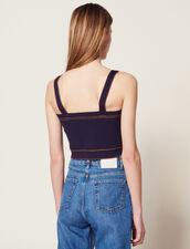Knit Top With Large Straps : Tops & Shirts color Navy Blue