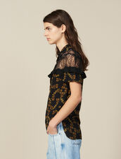 Short-Sleeved Printed Shirt : null color Black