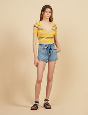 Wrapover Knit Top : null color Yellow