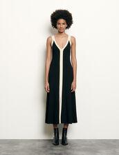 Long two-tone ribbed knit dress : Dresses color Black