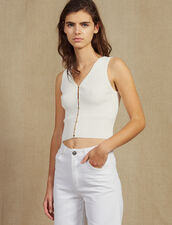 Knit Top With Jewelled Buttons : null color white