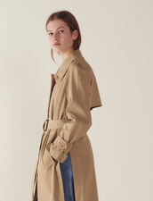 Belted Trench-Style Coat : null color Beige