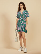 Short Printed Silk Dress : FSF-PAP&ACCESS color Green