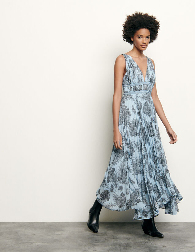 Long dress in printed chiffon : Summer Collection color Blue