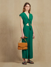 Jumpsuit With Tie Fastening On The Top : null color Green