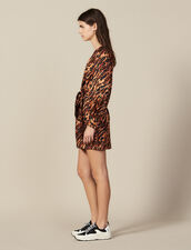 Short Printed Silk Dress : New In color Wildcat (Fawn)
