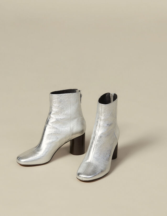 Metallic leather ankle boots : LastChance-ES-F40 color Silver