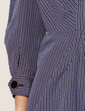 Short Dress With Fine Stripes : null color Blue