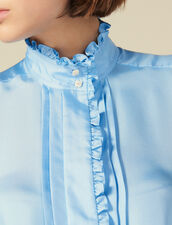 Silk Shirt Edged With Ruffles : Tops & Shirts color Blue sky