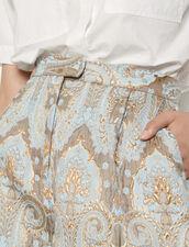 Flared brocade shorts : Skirts & Shorts color Gold / Blue