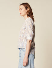 Short-Sleeved Lace Top : null color Multi-Color