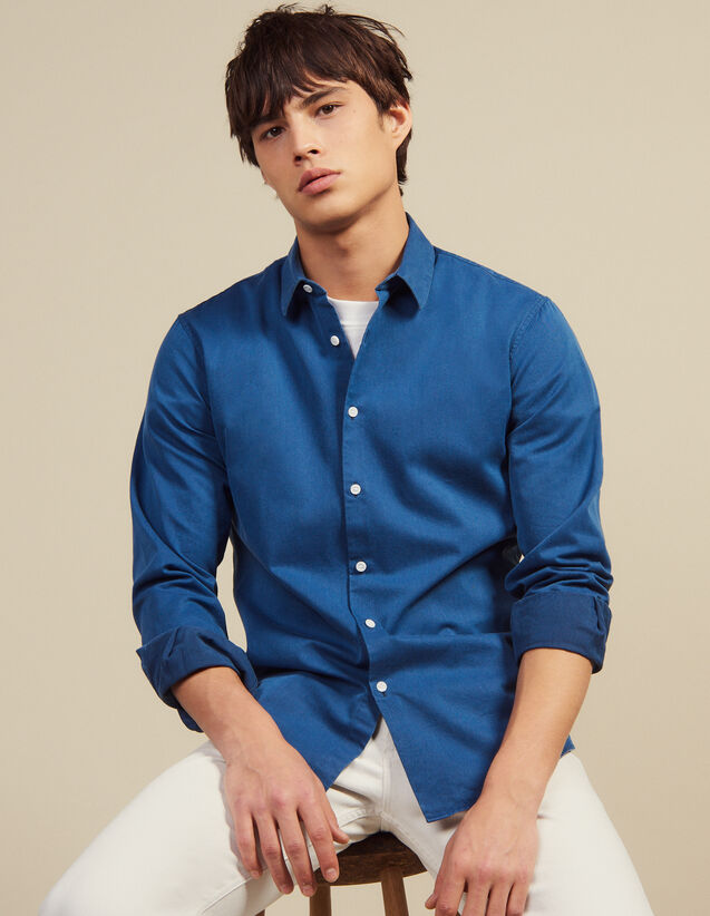 Faded Chambray Casual Shirt : Sélection Last Chance color Blue Vintage - Denim