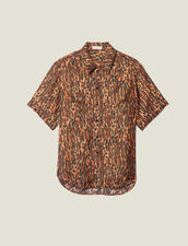 Printed Silk Twill Shirt : LastChance-ES-F50 color Brown