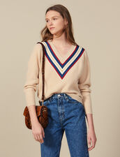 V-neck sweater with braid trim : LastChance-ES-F40 color Beige