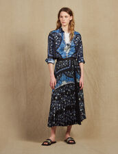 Wraparound Skirt With Sunray Pleating : Skirts & Shorts color Blue