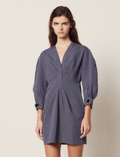 Short Dress With Fine Stripes : Dresses color Blue